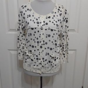 CAbi M black white Dottie polka dot cardigan *FLAW